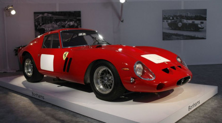 A 1962-63 Ferrari 250 GTO Berlinetta is displayed during a preview for the Bonhams Quail Lodge car auction in Carmel