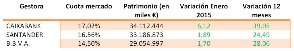 Patrimonio fondos de inversión enero 2015